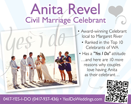 Anita Revel marriage celebrant Margaret River Dunsborough Yallingup Dunsborough Busselton