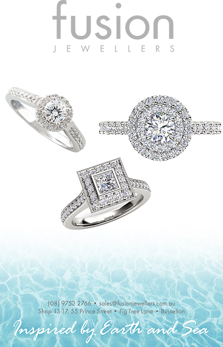 Fusion Jewellers hand crafted engagement and wedding rings. Margaret River, Western Australia