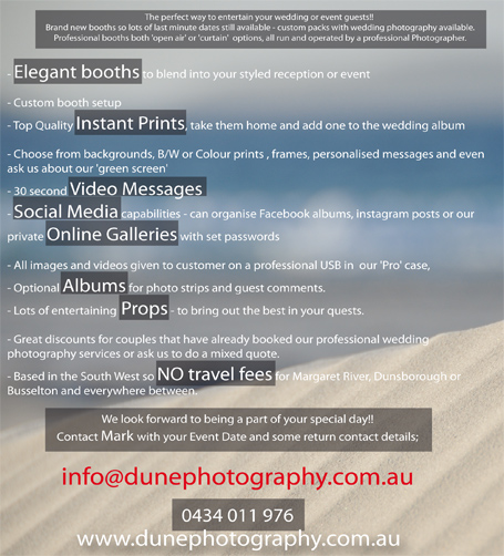Dune Photobooth instant prints, elegant booths, albums and no travel fees.
