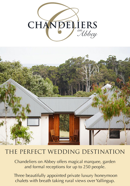 Chandeliers on Abbey wedding destination honeymoon accommodation Margaret River