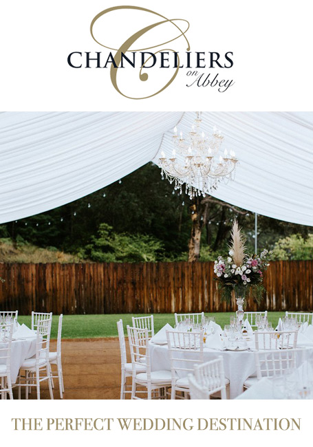 Chandeliers on Abbey marquee garden weddings Yallingup